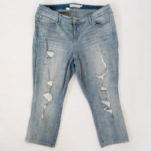 Torrid Skinny Distressed Crop Denim Jeans Size 20